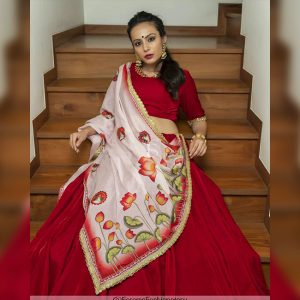 Viscos Velvet Lehanga Choli & Dupatta - FB4186 | Red