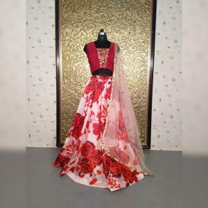 Taffeta Silk Semi Stitch Lehanga - MPP1408 | Red