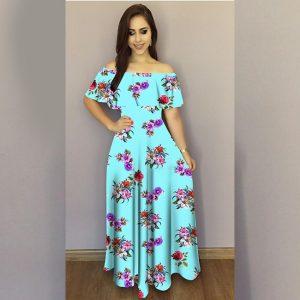 Printed Crepe Gown - FG2489   Sky Blue   CC-03