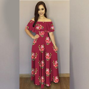 Printed Crepe Gown - FG2489   Maroon   CC-02