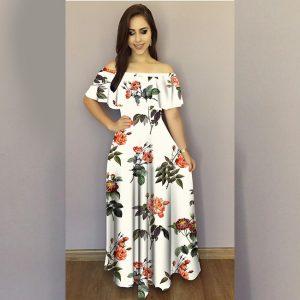 Printed Crepe Gown - FG2489   White   CC-01
