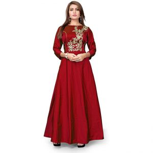 Poly Silk Embroidered Gown - CZ1022 | Red