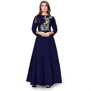 Silk Embroidered Gown - CZ1022 | Navy Blue