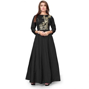 Poly Silk Embroidered Gown - CZ1022 | Black