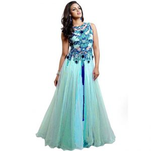 Net Embroidered Gown - CZ1021 | Light Blue
