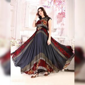 Rayon Aasami Silk Gown – MPP1435   Dark Gray   CC-08