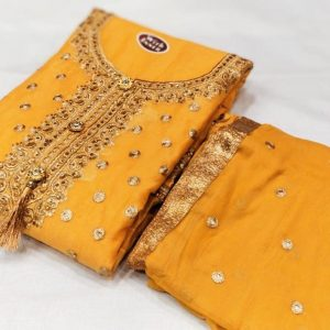 Chanderi Embroidered Dress – MPP1451| Yellow