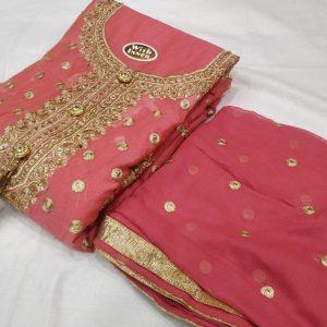 Chanderi Embroidered Dress – MPP1451  Tea Pink