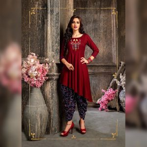 Colored Rayon Kurti – FB4219 | Maroon