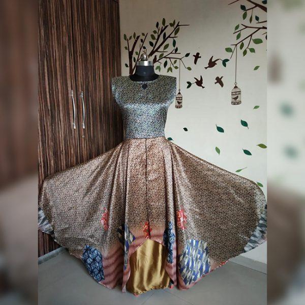 Rayon Aasami Silk Gown – MPP1435 | Golden | CC-16