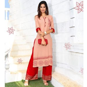 Rayon Embroidered Dress – FB4223   Light Pink