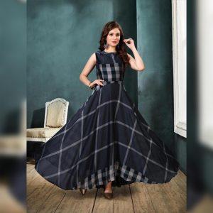 Rayon Aasami Silk Gown – MPP1435   Black   CC-11