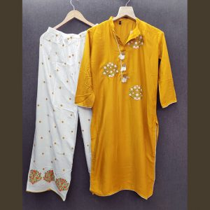 Rayon Embroidered Dress – FB4217 | Mustard