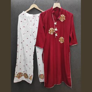 Rayon Embroidered Dress – FB4217 | Maroon