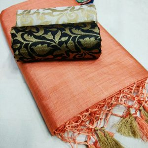 Kalkata Cotton Saree – MPP1450 | Peach | CC-09