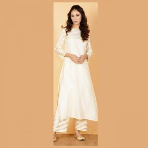 Rayon Gotta Patti Dress – FB4206 | White