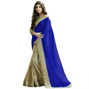 Lycra&Georgette Embroidered Saree – FG2518 | Blue