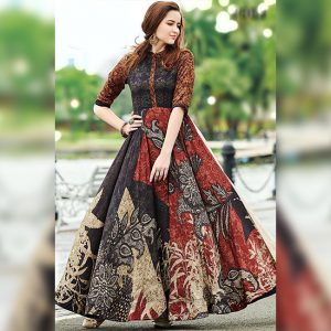 Rayon Aasami Silk Gown – MPP1435   Black   CC-15