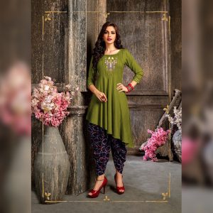Colored Rayon Kurti – FB4219 | Green