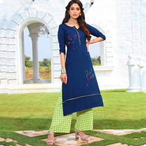 Rayon Embroidered Dress – FB4223 | Blue
