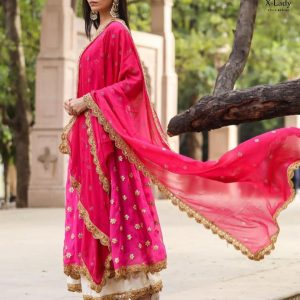 Georgette Embroidered Dress – FB4212 | Pink