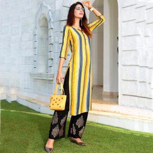 Rayon Embroidered Dress – FB4223   Yellow