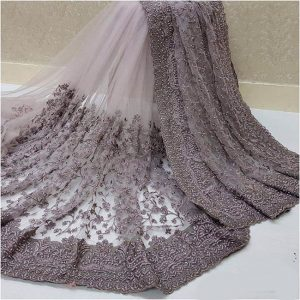 Nylon Net Embroidered Saree – FB4222 | Dark Gray