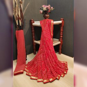 Georgette Saree – MPP1449 | Red | CC-12