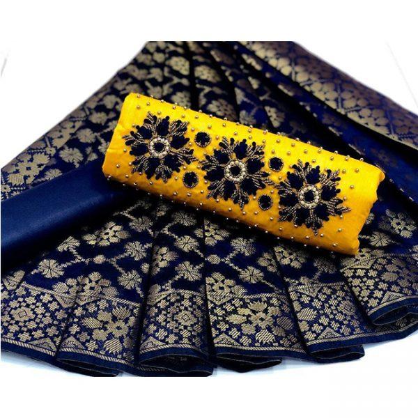 Cotton Embroidered Dress – MPP1436 | Navy Blue