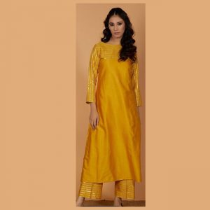Rayon Gotta Patti Dress – FB4206 | Yellow