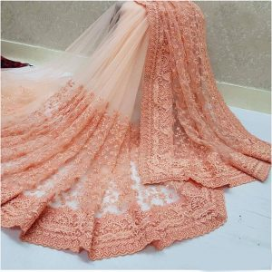 Nylon Net Embroidered Saree – FB4222 | Peach