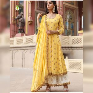 Georgette Embroidered Dress – FB4212 | Yellow