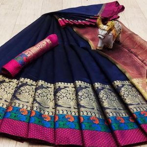 Silk Jacquard Saree – FG2512 | Navy Blue | CC-07