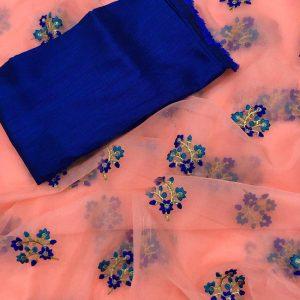 Organza Embroidered Saree – MPP1439 | Pink