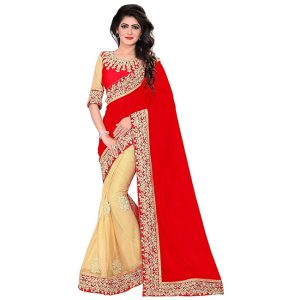 Lycra&Georgette Embroidered Saree – FG2518 | Red