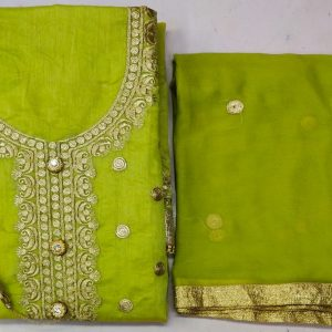 Chanderi Embroidered Dress – MPP1451 | Parrot Green