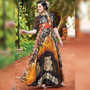 Rayon Aasami Silk Gown – MPP1435   Black   CC-14