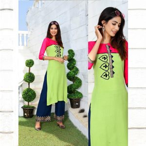 Rayon Embroidered Dress – FB4223 | Light Green
