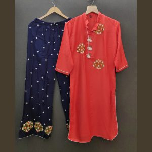 Rayon Embroidered Dress – FB4217 | Red