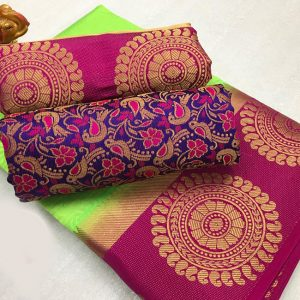 Kanjivaram Tussar Silk Saree – FB4215 | Green | CC-01