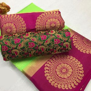 Kanjivaram Tussar Silk Saree – FB4215 | Green | CC-02