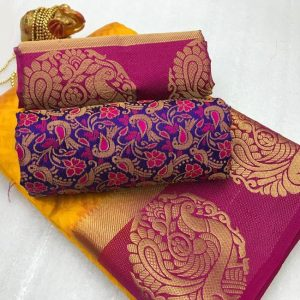 Kanjivaram Tussar Silk Saree – FB4215 | Yellow | CC-03