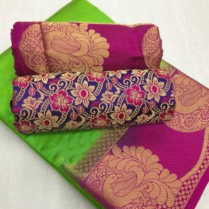 Kanjivaram Tussar Silk Saree – FB4215   Parrot Green   CC-05