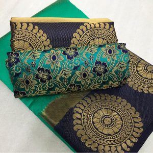 Kanjivaram Tussar Silk Saree – FB4215 | Dark Green | CC-06