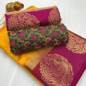 Kanjivaram Tussar Silk Saree – FB4215 | Yellow | CC-07