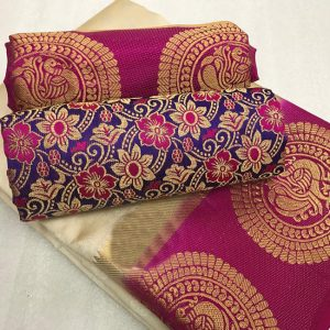 Kanjivaram Tussar Silk Saree – FB4215 | White | CC-08