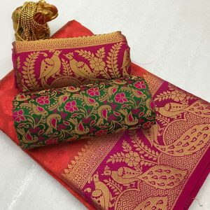 Kanjivaram Tussar Silk Saree – FB4215 | Red | CC-10