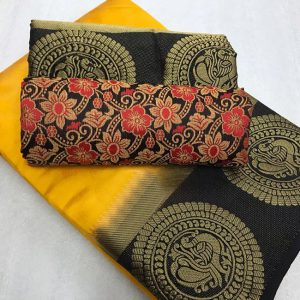 Kanjivaram Tussar Silk Saree – FB4215 | Yellow | CC-11