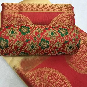 Kanjivaram Tussar Silk Saree – FB4215 |Off White | CC-12