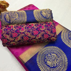 Kanjivaram Tussar Silk Saree – FB4215 | Purple | CC-13
